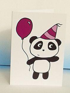 Panda Birthday Card -Cute Panda Card- Party Card - Invites