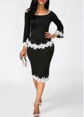 Black Scoop Neck Lace Panel Sheath Dress | Rosewe.com - USD $33.08