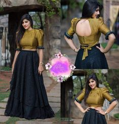 Black scart with golden top Indian Gowns Dresses, Indian Fashion Dresses, Dress Indian Style, Indian Designer Outfits, Half Saree Designs, Fancy Blouse Designs, Lehenga Designs, Saree Blouse Designs, Stylish Blouse Design