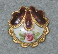 images of antiques | Antique French Brass & Enamel Button w/Rose & Brown Trim | Buttons!