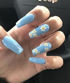 Enchanting nail art design for spring season with yellow flowers Nails 10 Amazing Spring Nail Art Designs That You Should Try Asap Spring Nail Art, Nail Designs Spring, Nail Art Designs, Acrylic Nails For Spring, Acrylic Nail Designs For Summer, Spring Design, Makeup Designs, Paint Designs, Blue Acrylic Nails