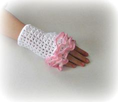 Fingerless Gloves  White Pink Trendy Girly Teenie by Iovelycrochet, $27.00