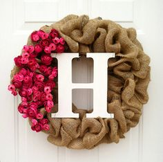 Items similar to Burlap Wreath with Pink Flowers and Personalized Initial - Item 125 on Etsy Valentine Wreath, Valentine Decorations, Valentine Crafts, Valentine Ideas, Diy Wreath, Burlap Wreath, Initial Wreath, Home Crafts, Diy And Crafts