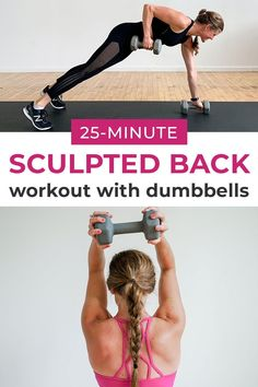 Get a strong, sculpted back with this dumbbell only BACK WORKOUT! This workout combines the best back exercises for women in one quick and efficient workout! #backworkout #backexercises #backworkoutforwomen Good Back Workouts, Workouts For Teens, Quick Workout At Home, Back Exercises, Fit Board Workouts, Chest Workouts, At Home Workouts, Workout For Beginners, Major Muscles