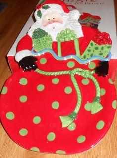 FITZ & FLOYD GOURMET KRINGLE CHRISTMAS HOLIDAY LARGE PLATTER SANTA