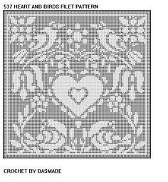 Hearts And Birds Filet Crochet Doily Pattern 537 Free PatternsCrochet Curtain