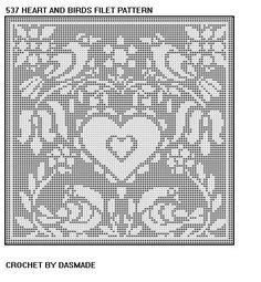 Hearts and Birds Filet Crochet Doily Pattern     Item #537    **********************************    Size 10 thread W22 x L24 1100 yds                      *****************************************