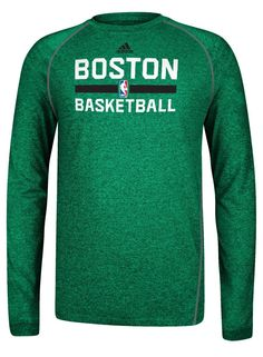 7165b31d4cd adidas Celtics Climalite Long Sleeve Practice T-Shirt  Green