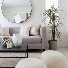 Round mirror and geometric vases, play with your shapes to add @liketoknow.it.home-approved interest to your living room a la @copycatchic | Get ready-to-shop details with www.LIKEtoKNOW.it | http://liketk.it/2pelW #liketkit