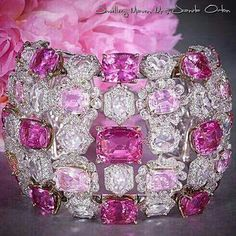 @moussaieffjewellers-a beautiful pink spinel cuff with rose-cut, round and briolette diamonds.