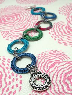 Macrame Hoop Bracelet - Peacock