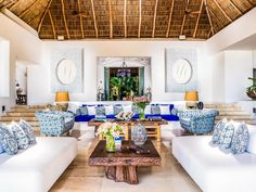"""Martyn Lawrence Bullard designed Casa Aramara's tasteful interiors and feature several seating areas. Every room has an """"anything"""" button; we're assuming that when you push it one of the 15 people on staff will bring you anything you want."""
