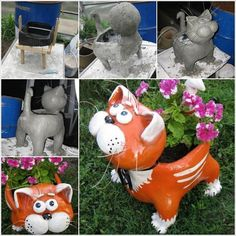 DIY Adorable Cat Flower Pot from Plastic Bottle and Cement DIY Adorable Cat Flower Pot from Plastic Bottle and Cement Reuse Plastic Bottles, Plastic Bottle Crafts, Plastic Art, Clay Pot Crafts, Cement Crafts, Cat Flowers, Flower Pots, Diy Flower, Animal Crafts