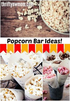 Popcorn Bars are fun and very affordable entertaining idea for all kinds of parties. Use for game day (Superbowl) parties, birthday parties, afterschool snacks and more!