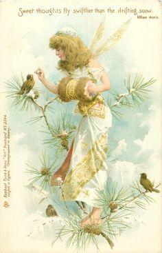 fairy feeds birds in snowy pine-tree