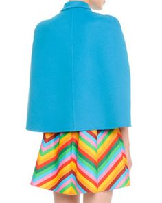 -5HVA Valentino Cropped Wool-Cashmere Cape & Bright Chevron A-Line Dress