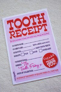 #Tooth #fairy receipt so you can alway remember when they lost their #teeth. #cute.