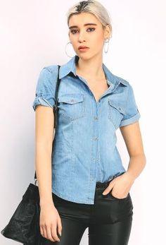 Short Sleeve Denim Shirts | Shop Tops at Papaya Clothing