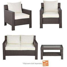 Beverly 4-Piece Patio Deep Seating Set with Cushion Insert (Slipcovers Sold Separately)