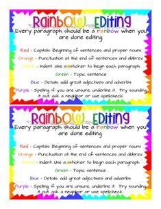 Rainbow Editing - Writing Folder - PRINT!