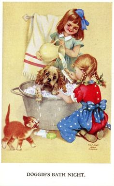 Doggie's Bath Night - Illustration by Gladys Ann Couch Vintage Pictures, Vintage Images, Pretty Pictures, Retro Kids, Antique Illustration, Illustration Art, Vintage Drawing, Cute Cards, Vintage Cards