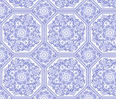 Persian Tile ~ Blue & White fabric by peacoquettedesigns on Spoonflower - custom fabric
