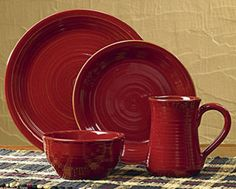 Aspen Dinner Plate, by Park Designs. The beautiful barn red glaze and hand-thrown look make this line of dinnerware versatile and popular! This is for the solid red Dinner Plate. Microwave and dishwasher safe. Measures 11 inches in diameter. Other pieces also available!