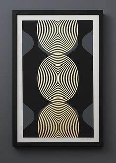 Hourglass Beads Detail (grey/black/gold), by Lisa Hunt Creative. Screen printed and gold leafed by the artist.