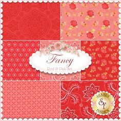 """Fancy 7 FQ Set - Red & Pink. Fancy is a collection by Lily Ashbury for Moda Fabrics. 100% Cotton. This set contains 7 fat quarters, each measuring approximately 18"""" x 21""""."""