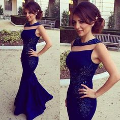 Ulass 2016 Royal Blue Prom Dresses Sleeveless Lace Stylish Long Mermaid Evening Gowns