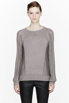 HELMUT LANG Taupe Skeletal Cord Sweater - $212