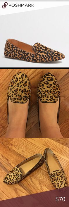 J Crew Leopard loafers size 9 Gorgeous and chic J Crew calf hair leopard loafers. Only worn TWICE! EXCELLENT condition. Would look adorable with ankle length pants or a skirt. Smoke free home. J. Crew Shoes Flats & Loafers