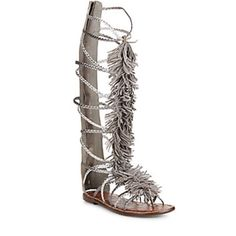🚨FINAL PRICE🚨Sam Edelman Gladiator Sandals NWT & box. Fringed knee-high metallic leather sandals from Sam Edelman. Metallic leather upper, fringe at top. Thong strap & back Zipper. Leather lining & sole. Gray combo. Sam Edelman Shoes Sandals