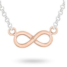 For Her - Silver And Rose Gold Plated Infinity Pendant - 14700079