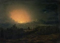 John Martin (style of) - The Fire, Edinburgh Your Paintings, Landscape Paintings, Moonlight Painting, Landscape Concept, John Martin, Epic Art, England, Environment Concept, Traditional Paintings
