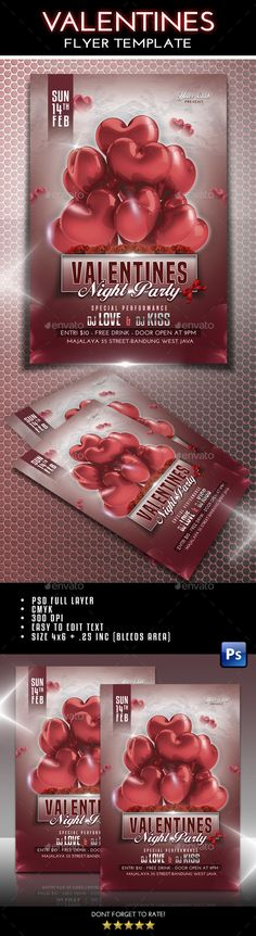 #Valentines #Flyer - #Clubs & Parties #Events Download here: https://graphicriver.net/item/valentines-flyer/14313042?ref=alena994