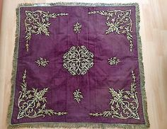ANTIQUE OTTOMAN TURKISH GOLD METALLIC HAND EMBROIDERY BOHCA No:3