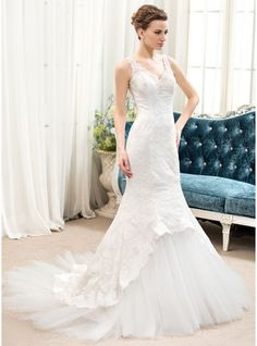Trumpet/Mermaid V-neck Chapel Train Tulle Lace Wedding Dress With Beading Sequins