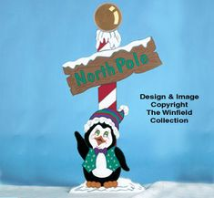 North Pole Penguin Sign Woodcraft Pattern