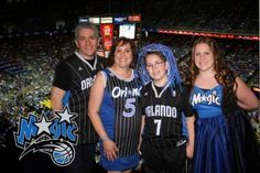 "The dress code for this Bar Mitzvah was listed on the enclosure card as ""Game Day Attire – Wear your favorite team jersey."" Mom and sister Sara still wanted to wear dresses so they bought new Orlando Magic jerseys and D Squared Productions made custom dresses for them! Mom wanted her dress to look like a team jersey, but Sara wanted a party dress – they came out perfect!"