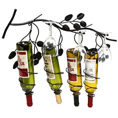 Special Offers - Wall Mounted Grapevine Design Spirally Wine Rack / Metal Wine Bottle & Glass Hanger Black  MyGift - In stock & Free Shipping. You can save more money! Check It (June 26 2016 at 06:28PM) >> http://uniquewineglass.net/wall-mounted-grapevine-design-spirally-wine-rack-metal-wine-bottle-glass-hanger-black-mygift/