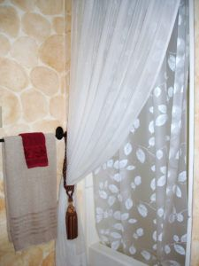 White Shower Curtain With Tie Back Shower Curtain With Valance