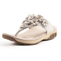 Therafit Flora Women's Arch Support Flower Adorned Leather Sandal | Therafit Shoe - white.