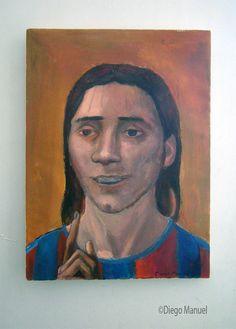 Messi dios del futbol, acrylic on canvas, 52 x 70 cm,2012 , pinturas de Diego Manuel