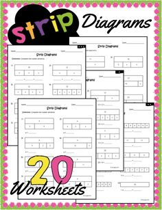 Strip Diagram worksheets including al 4 basic operations! Math Addition, Addition And Subtraction, Strip Diagram, Special Education Math, 2nd Grade Activities, Singapore Math, Fourth Grade Math, Math Journals, Math Skills