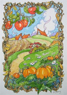 """Octobers Reign Storybook Cottage Series"" - Original Fine Art for Sale - © Alida Akers"