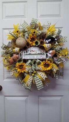 Animal Lover Wreath,Dog Lover Wreath,Spring Mesh Wreath,Summer Mesh Wreath,Welcome Wreath by CherylsCrafts1 on Etsy