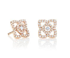 ENCHANTED LOTUS STUD EARRINGS IN PINK GOLD This Enchanted Lotus collection is inspired the beautiful Lotus flower, a symbol of eternity and purity just like a diamond itself. These elegant pink gold stud earrings showcase the De beers signature thread pave which flows continuously in the form of a lotus flower. Total carat weight 0.34ct.  £1,550.00