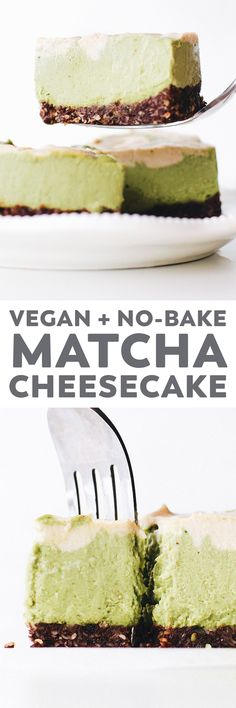 Luscious no-bake Matcha Cheesecake – your favorite latte transformed into an easy vegan treat with a brownie crust and vanilla swirls on top! #vegan #easyrecipe #matcha #glutenfree #nobake #dessert #plantbased #oilfree