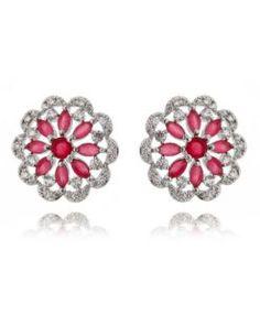 brinco delicado rubi com zirconias cristais e banho de rodio semi joias online